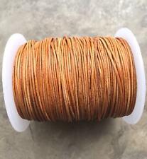 1mm 1.5mm 2mm Natural Dye Tan Leather Round Cord - Distresse Tan