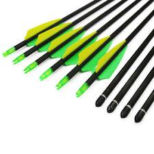 "12Pcs 32"" Archery Carbon Arrow Spine 400 Replaceable Field Point Tips Recurvebow"