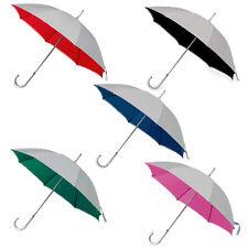 6 BICOLORE CLASSICO MANUALE ombrelli. ALLUMINIO Crooked impugnatura argento