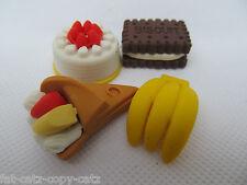 SET OF 4 NOVELTY RUBBER ERASERS CAKE BISCUIT FRUIT:BANANA PARTY BAG  UK SELLER