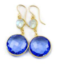 Sapphire Sim Earrings Blue Bezel Faceted Moonstone Round Long 14k Gold Drops