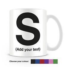 Helvetica lettera S Tazza da caffè-può essere personalizzata-aggiungi il tuo nome - 6 COLORI