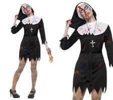 Damen Zombie Nonne Damenkostüm Schwester Erwachsene Halloween Kostüm Neu