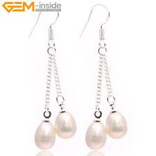 5-6mm Pearl Sterling Silver Dangle Hook Earrings Women Fashion Jewellery Gift UK