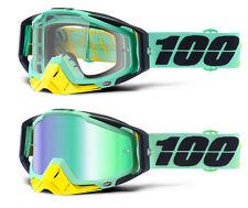 100% Por Cien Racecraft Motocross Mx Gafas kloog Claro / VERDE ESPEJO NUEVO