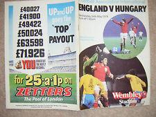 England V Hungary Program played at Wembley 24 May 1978