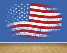 USA Flag Grafitti Bespoke Wallpaper Backdrop Print Feature Wall Mural Decal