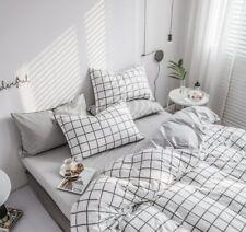 Plaid Textile White Gray Bedding Sets Cotton Duvet Cover Pillowcase Bed Sheet &&