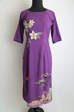 Size S Vietnamese Ao Dai Cach Tan 3XL Multicolored Floral Jacquard Cach Tan