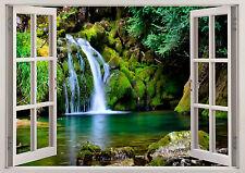 Nature Beach Waterfall Green Trees 3D Scene Window Sticker Wall Poster Vinyl 357