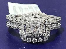 1.00ct Genuine Diamonds Engagement Ring Halo style Princess Cut 14K White Gold