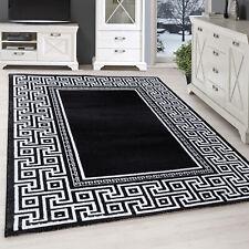 Moderner Design Teppich Wohnzimmer Teppich Mäander Bordüre Schwarz Grau Weiß