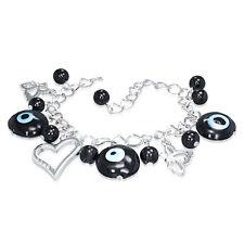 "Evil Eye Glass Bead Ball Open Love Heart Butterfly Charm Chain Bracelet 7.5"""