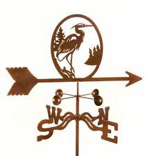 Bird - Blue Heron Weathervane - Steel w/ Copper Vein Finish - w/ Choice of Mount