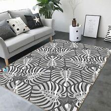 3DSchwarz Weiß Blätter 3 Rutschfest Teppich Raum Matte Qualität Elegant Teppich