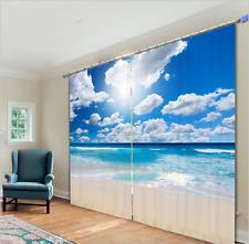 3D Blockout 2 Panel Set Window Curtain-Sea Beach Blue Sky Cloud Fabric Drape