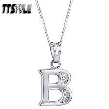 TTstyle 18K White Gold GP Letter B Pendant Necklace With 45/60cm Box Chain
