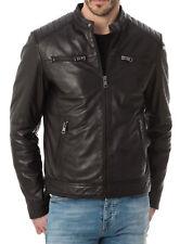 Men's Stylish Motorcycle Biker Genuine Lambskin Nappa Leather Jacket Mj 57