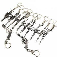 "GUN WEAPON Metal Keyrings 2.5"" Key Chains Choice of Design Gunmetal Black"