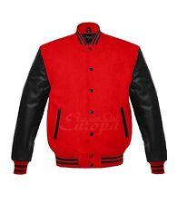 Men Varsity Wool Jacket Genuine Leather Sleeve Letterman College