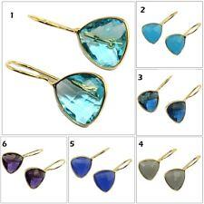 Trilian Amethyst, Chalcedony, Topaz Hook Gold Plated Earring Gemstone Jewelry