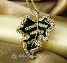Pendant&Necklace/Rose gold/Rgn415 Crystal Black Leaf