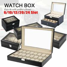 Leather Wrist Watch Display Box Storage Holder Organizer Windowed Case LOT