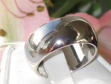 R2243PB 8MM DOME WEDDING BAND WEDDING  RING RHODIUM HEAVY SOLID SMOOTH  PLAIN