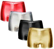 New Womens Size 8 to 16 Shiny Metallic Hot Pants Wet Look Tutu Sexy Mini Shorts