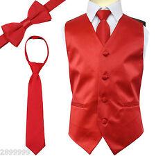 SOLID Colors Kid Boy's Tuxedo Vest Zipper Neck Tie & Bowtie 3pcs Set SIZE 2 - 14