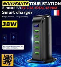 Chargeur Secteur Rapide USB 5V 11-38W Tour Bureau iPhone Samsung Tablette QC3.0