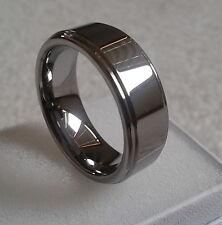 Fashion Jewelry Wedding Band Tungsten Ring 7mm 8mm Shinny Step Edge Size 6-14