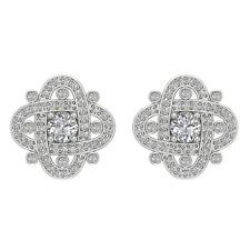 Designer Cluster Stud Earrings SI1 G 1.50 Ct Real Diamond White Gold Appraisal