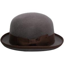 Men's 100% Wool Felt Bowler Hat with Grosgrain Ribbon Band - FREE SHIPPING