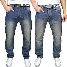 Seven Series Mens Designer Branded Comfort Loose Fit Straight Leg Jeans, BNWT