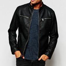 Black Leather Jacket for Men Slim fit Biker Size S M L XL XXL Genuine Lambskin