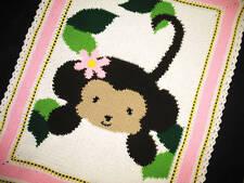 Crochet Patterns-JUNGLE MONKEY BABY GIRL Afghan Pattern
