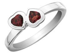 Garnet Double Heart Ring 1/2 Carat (ctw) in Sterling