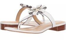 f0125fb1177 New Michael Kors Tara Thong flower Sandals optic white leather Studding T  Strap
