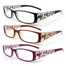 Reading Glasses Bifocal Floral Pattern Crystal Readers 100-400