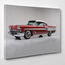 1958 Pontiac Bonneville Con Cornice Tela Stampa D'arte Auto Classica Rosso 50s