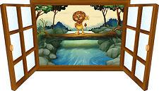 Sticker enfant fenêtre lion sur la riviere réf 3923