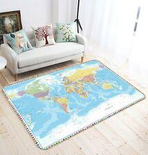 3D Geographic Picture R626 World Map Non Slip Rug Mat Elegant Photo Carpet Kay