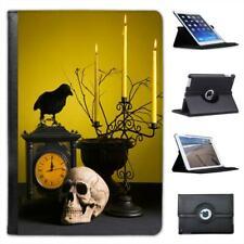 Creepy Halloween cuadro Decorados Con Calavera Crow Estuche De Cuero Para Ipad Mini