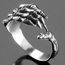 Real plata-anillo con huesos mano skull-Knuckle muertos mano