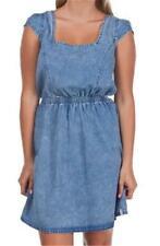 Rip Curl LOVE BUZZ DRESS Womens Backless Low Back Denim Dress New - Blue Rip $80