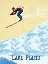 Lake Placid Ski Skiing Jumping New York Sport  Vintage Poster Repro FREE S/H