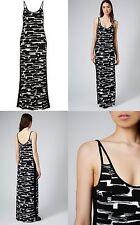 TOPSHOP Black Print Cotton Jersey Maxi Dress Size 8 10 12 BNWT FREE P&P A7