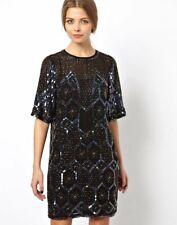 NWT $253 PREMIUM Geo Sequin & Bead Embellished DRESS BLACK 6 8 10 12
