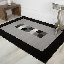 Grey Black Geometric Living Room Rug Soft Pet Friendly Easy Clean Lounge Rug UK